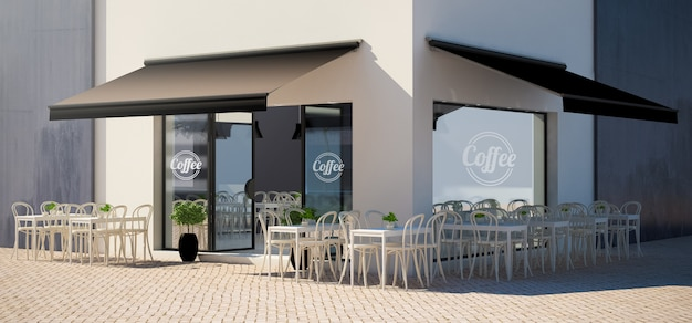 Cafe facade store with terrace view mockup Premium Photo
