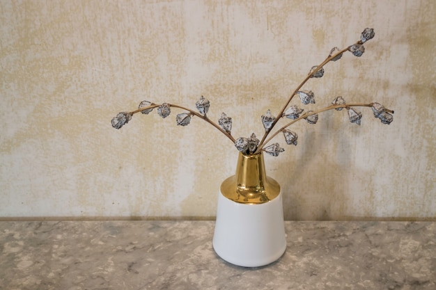 Cafe interior with dried flower vase Premium Photo