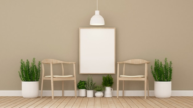 Cafe or living room and indoor garden - 3d illustration Premium Photo