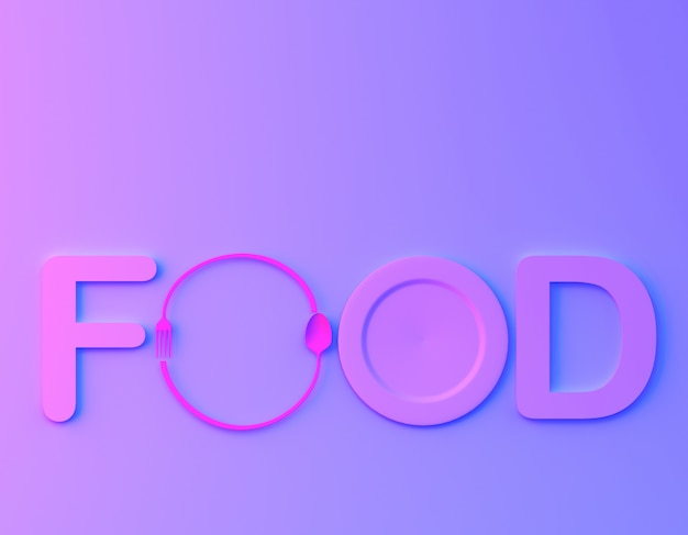 Cafe or restaurant emblem. food word sign logo with spoon and fork in bvibrant bold gradient purple and blue holographic colors background. Premium Photo