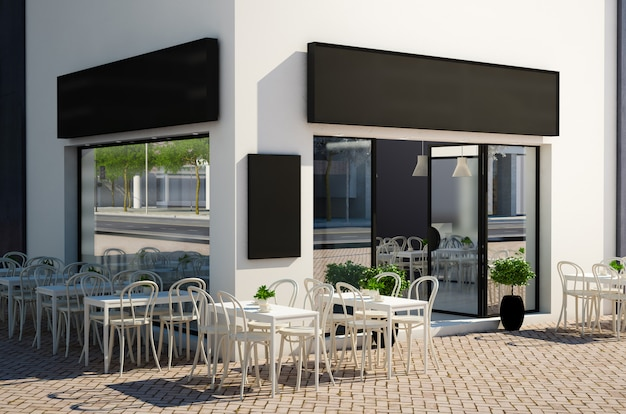 Cafe store with terrace on the street mockup Premium Photo