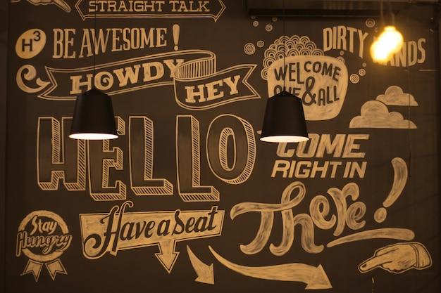 Cafe wall graffiti Premium Photo