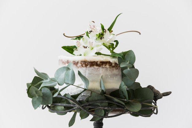 Cake decorated with alstromeria flowers and green leaves on white background Free Photo