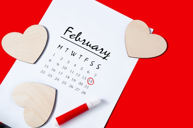 Premium Photo Calendar For 2021 Valentine S Day Diy Calendar For 2021 Marked Holiday On The Calendar