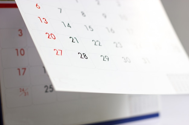 Calendar close-up photo Premium Photo
