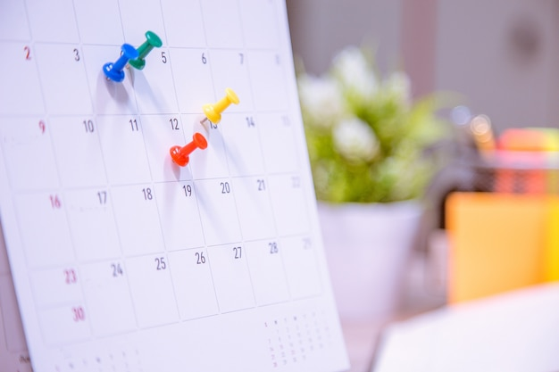 Calendar event planner is busy. Premium Photo