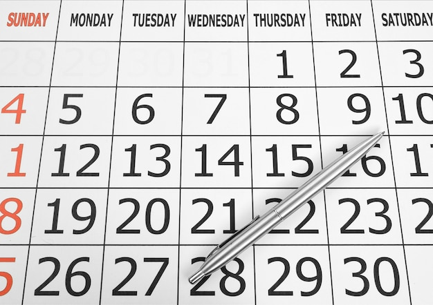 カレンダー2010年3月ページカールが白で分離 Premium写真
