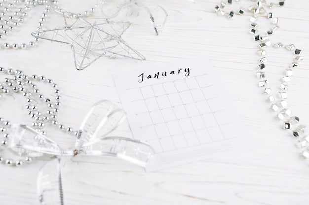 Calendar page on new year table Free Photo