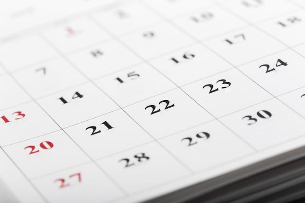 Calendar pages close up business time concept Premium Photo