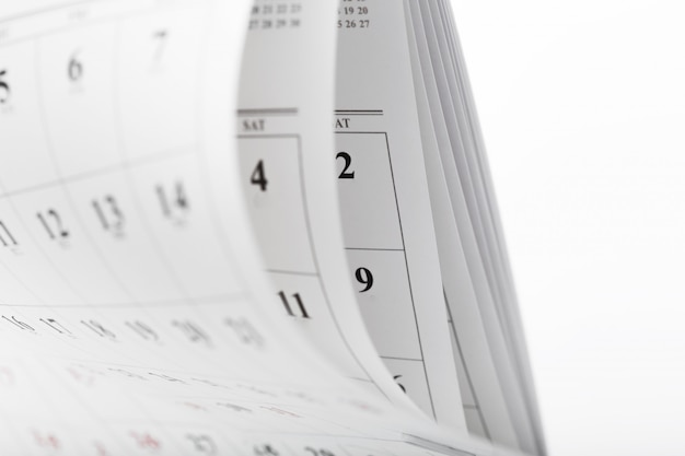 Calendar pages close up business time concept Premium Photo