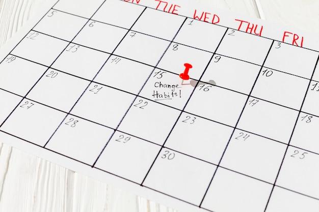 Calendar with bad habit mark Premium Photo