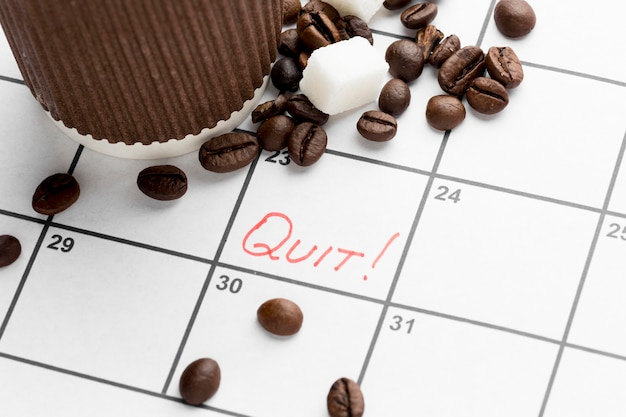 Calendar with date for quit drinking coffee Free Photo