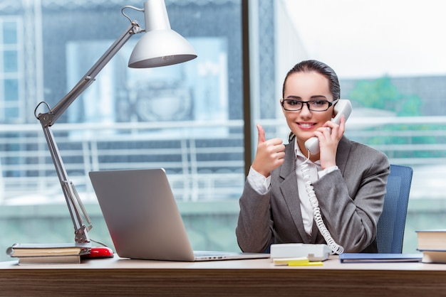 Call center operator in business concept Premium Photo