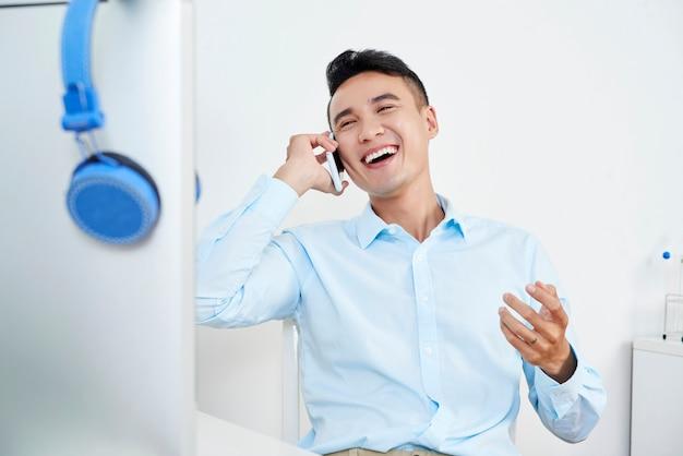 Calling cheerful man Free Photo