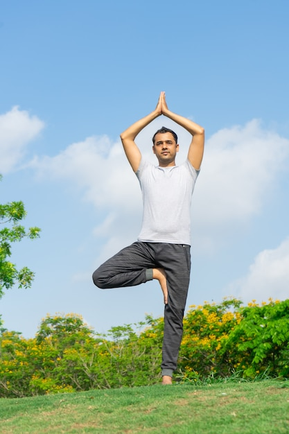 Calm Indian Man Standing In Tree Yoga Pose On Summer Lawn With Bushes Free Photo