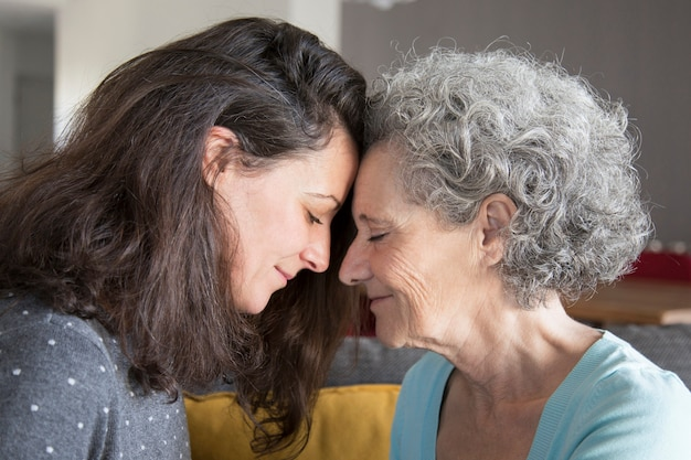 Calm senior mother and daughter supporting each other Free Photo