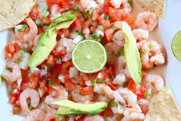 Camaron shrimp ceviche raw seafood salad mexico Premium Photo