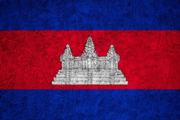Cambodia flag painted on grunge wall Premium Photo