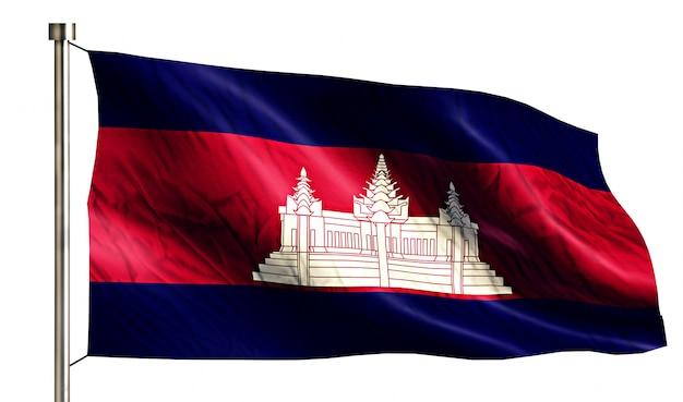Cambodia National Flag Isolated 3D White Background Free Photo