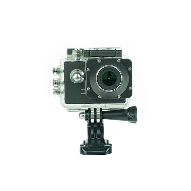 Camera action cam isolated on white . Premium Photo