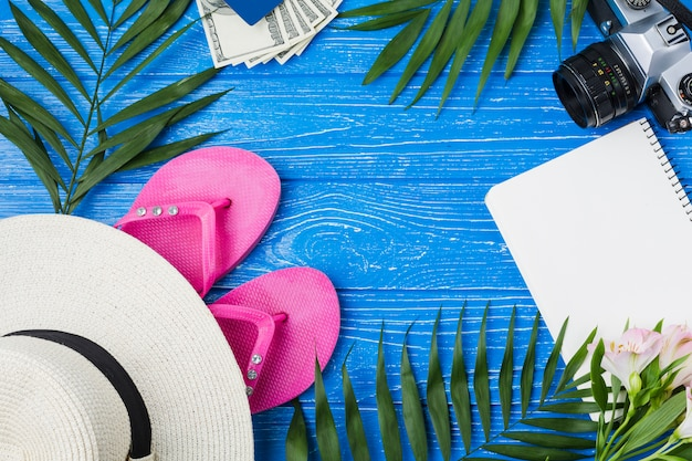 Camera near hat with flip flops and notepad among plant leaves Free Photo