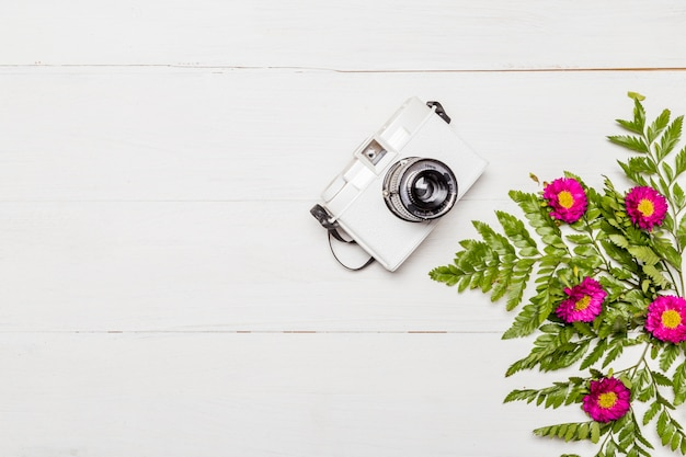 Camera and pink flowers with green leaves Free Photo