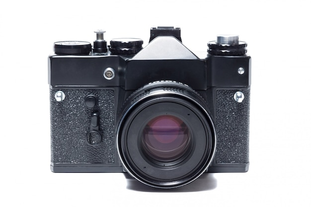 The camera on white background Premium Photo