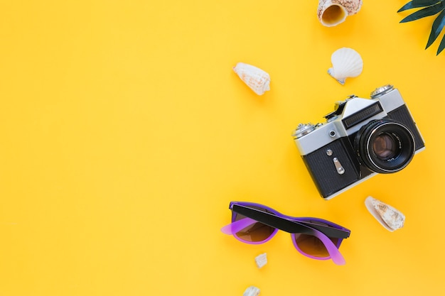 Camera with sunglasses and shells Free Photo