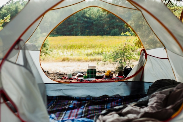 Camping day with tent outdoor Free Photo