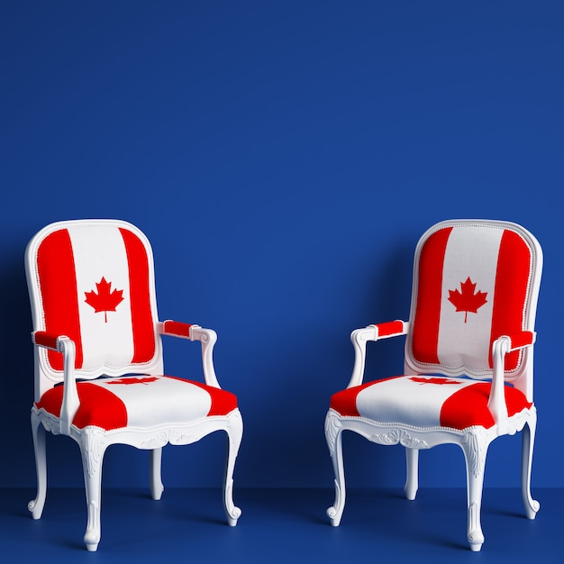 Canada flag chairs with copy space. 3d rendering Premium Photo