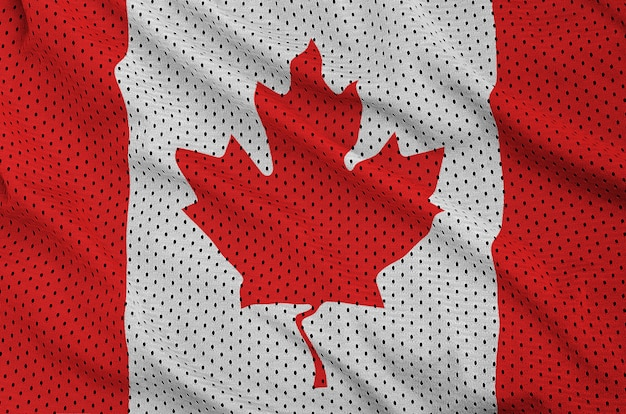 Canada flag printed on a polyester nylon sportswear mesh fabric Premium Photo