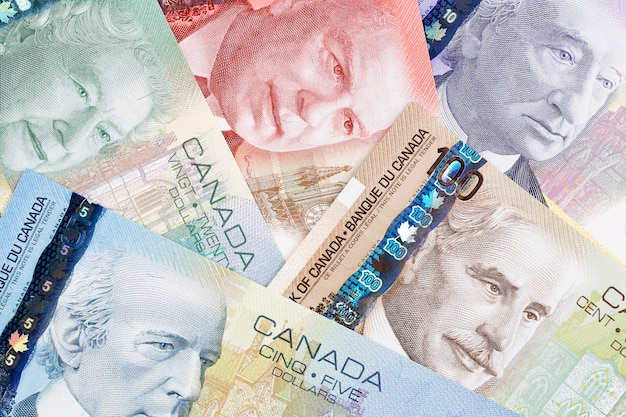 Canadian dollars, a business, background Premium Photo