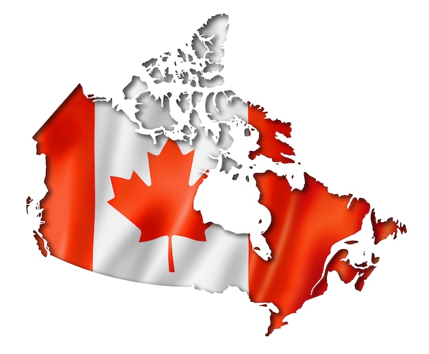 Canadian flag map Premium Photo
