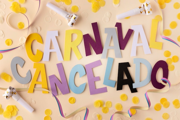 Canceled carnival with confetti top view Free Photo