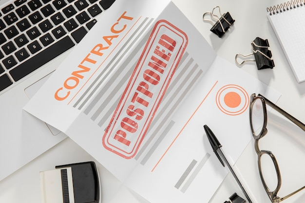Canceled contract on desk Free Photo