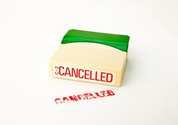 Cancelled stamp on white Premium Photo
