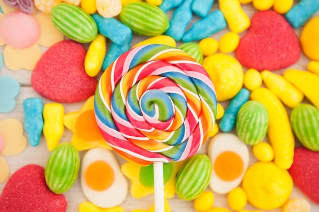 Candies with different shapes and colors Premium Photo
