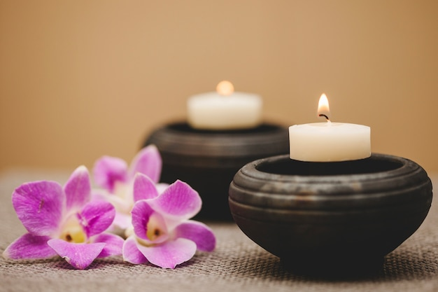 Candles and flowers Free Photo