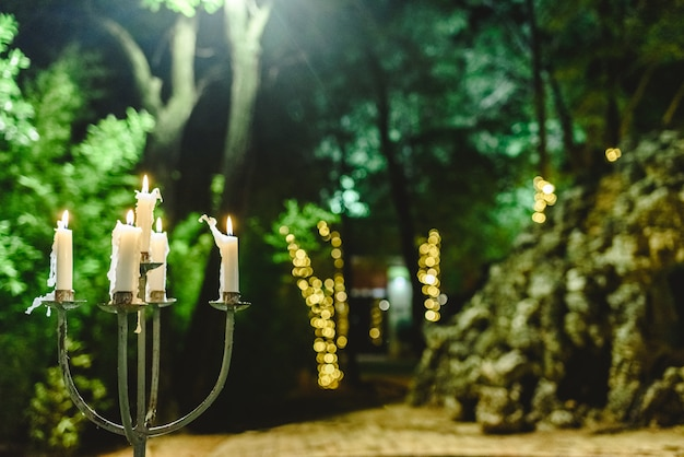 Candles lit to illuminate a garden during a dinner at night. Premium Photo