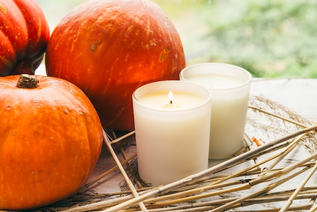 Candles and pumpkins on table Free Photo