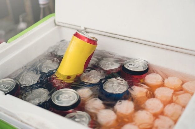 Cans of soft drinks in an ice box. Premium Photo