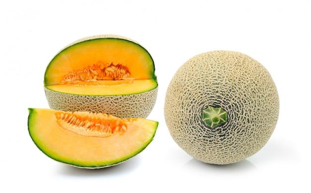Cantaloupe melon isolated on white space Premium Photo