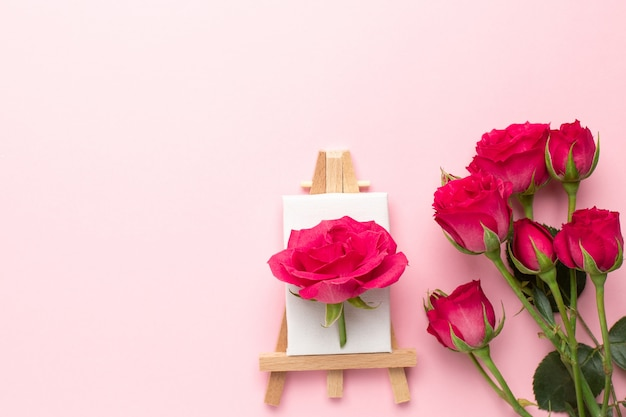 Canvas for painting with roses flower on pink Premium Photo