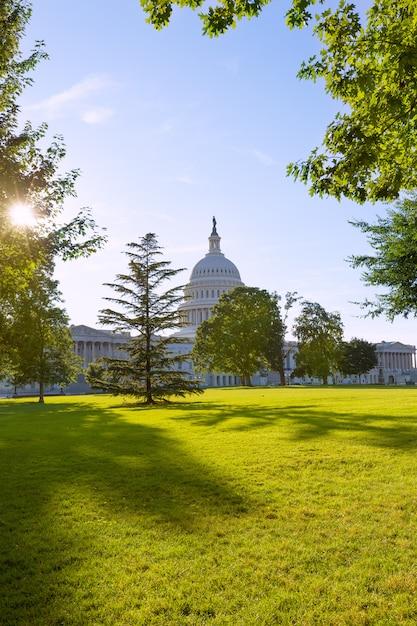 Capitol building washington dc sunset garden us Premium Photo