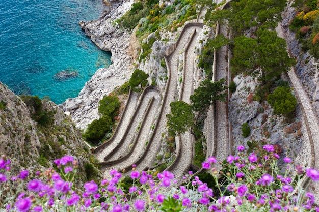 Capri, via krupp, italy. Premium Photo