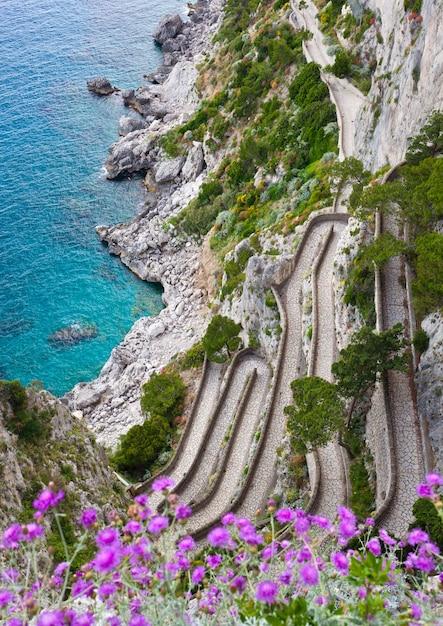 Capri, via krupp, italy. Premium Photo