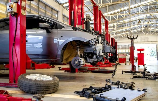 Car in automobile repair service center Premium Photo