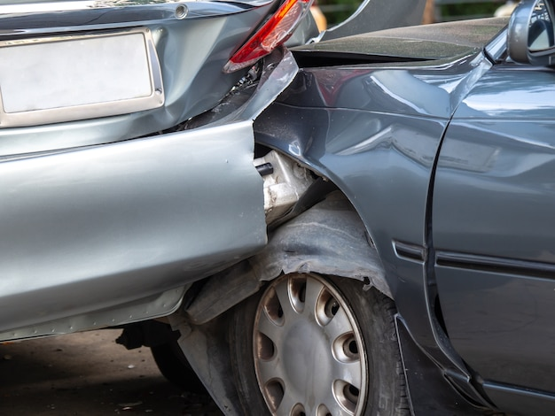 Car crash accident on street with wreck Photo | Premium Download