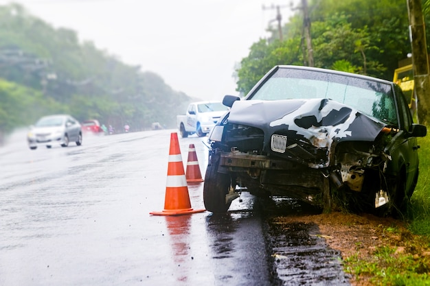 Car crash accident on street Premium Photo