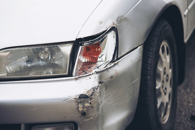 Car damage on road accident, car insurance Free Photo